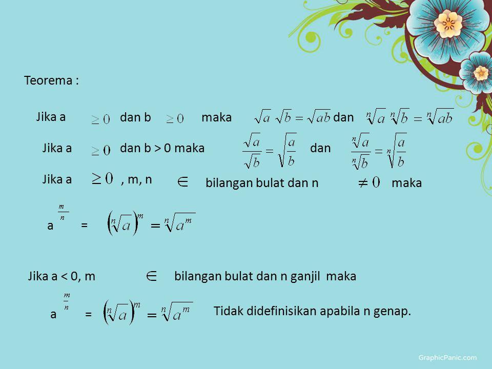 Teorema : Jika a dan b maka dan Jika a dan b > 0 maka dan Jika a, m, n bilangan bulat dan n maka Jika a < 0, m bilangan bulat dan n ganjil maka Tidak