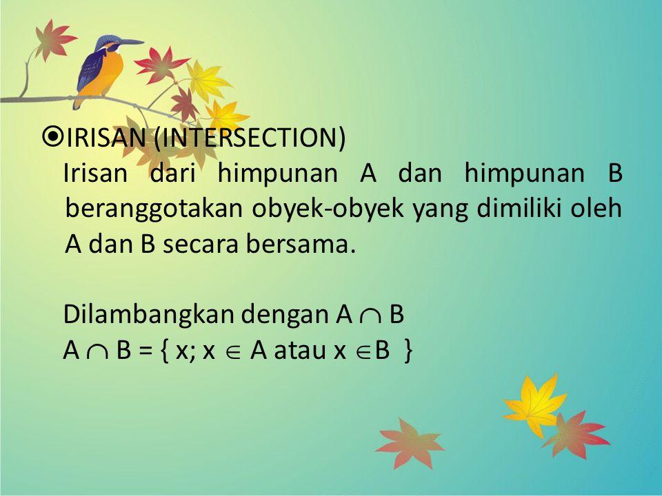  IRISAN (INTERSECTION) Irisan dari himpunan A dan himpunan B beranggotakan obyek-obyek yang dimiliki oleh A dan B secara bersama. Dilambangkan dengan