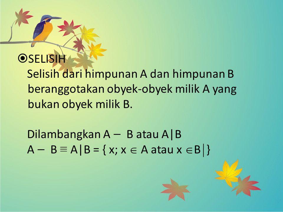  SELISIH Selisih dari himpunan A dan himpunan B beranggotakan obyek-obyek milik A yang bukan obyek milik B. Dilambangkan A — B atau A|B A — B ≡ A|B =
