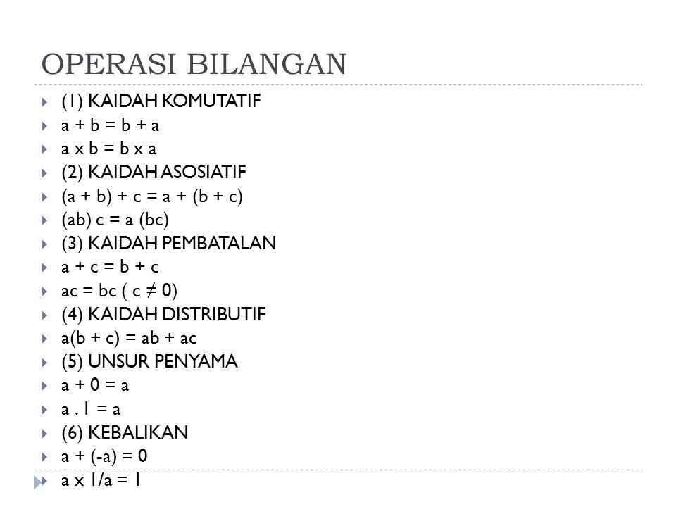 OPERASI BILANGAN  (1) KAIDAH KOMUTATIF  a + b = b + a  a x b = b x a  (2) KAIDAH ASOSIATIF  (a + b) + c = a + (b + c)  (ab) c = a (bc)  (3) KAI