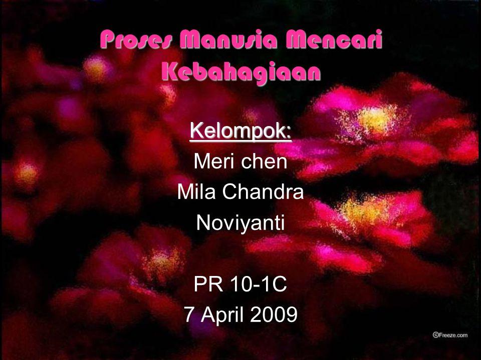 Proses Manusia Mencari Kebahagiaan Kelompok: Meri chen Mila Chandra Noviyanti PR 10-1C 7 April 2009