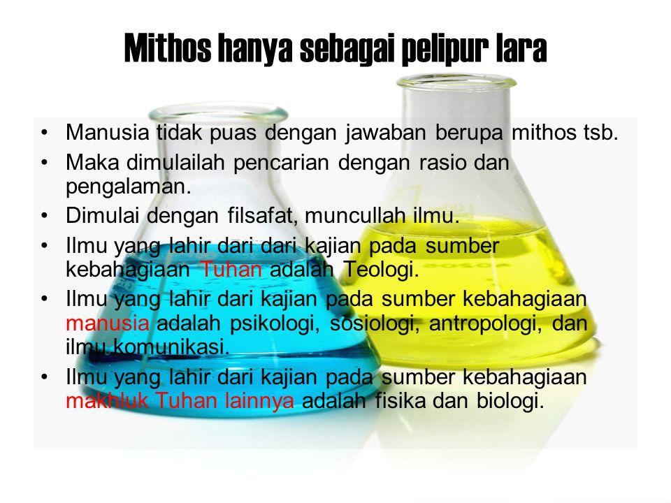 Mithos hanya sebagai pelipur lara Manusia tidak puas dengan jawaban berupa mithos tsb. Maka dimulailah pencarian dengan rasio dan pengalaman. Dimulai