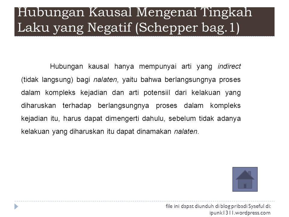 Hubungan Kausal Mengenai Tingkah Laku yang Negatif (Schepper bag.1) Hubungan kausal hanya mempunyai arti yang indirect (tidak langsung) bagi nalaten,