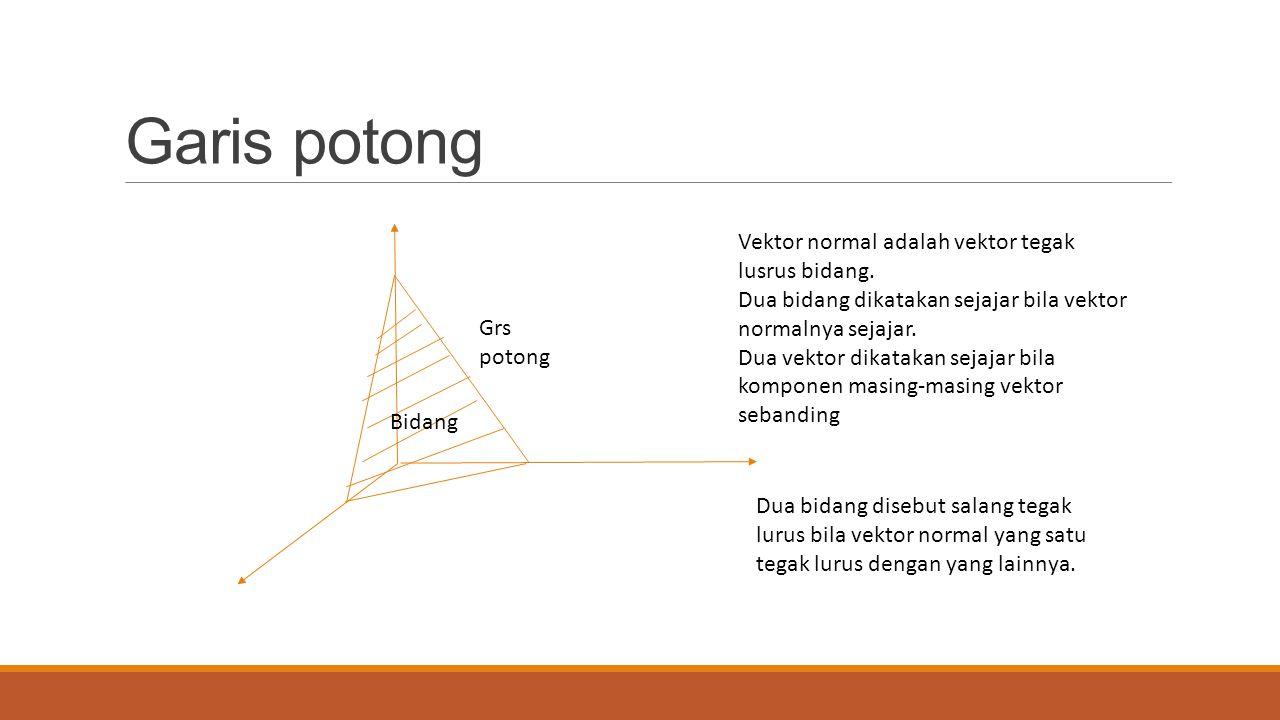 Garis potong Grs potong Bidang Vektor normal adalah vektor tegak lusrus bidang. Dua bidang dikatakan sejajar bila vektor normalnya sejajar. Dua vektor