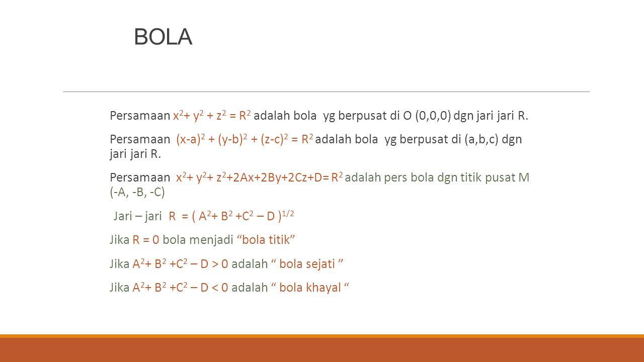 BOLA Persamaan x 2 + y 2 + z 2 = R 2 adalah bola yg berpusat di O (0,0,0) dgn jari jari R. Persamaan (x-a) 2 + (y-b) 2 + (z-c) 2 = R 2 adalah bola yg