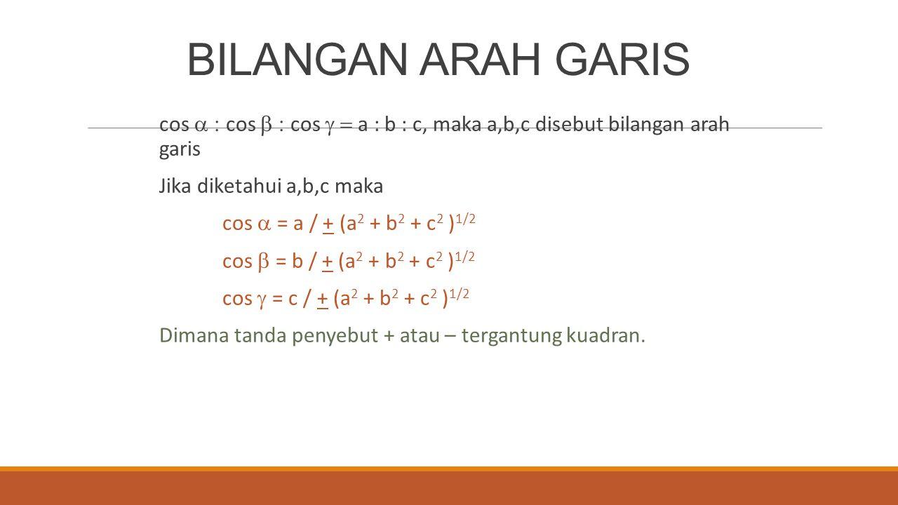BILANGAN ARAH GARIS cos  cos  cos  a : b : c, maka a,b,c disebut bilangan arah garis Jika diketahui a,b,c maka cos  = a / + (a 2 + b 2 +