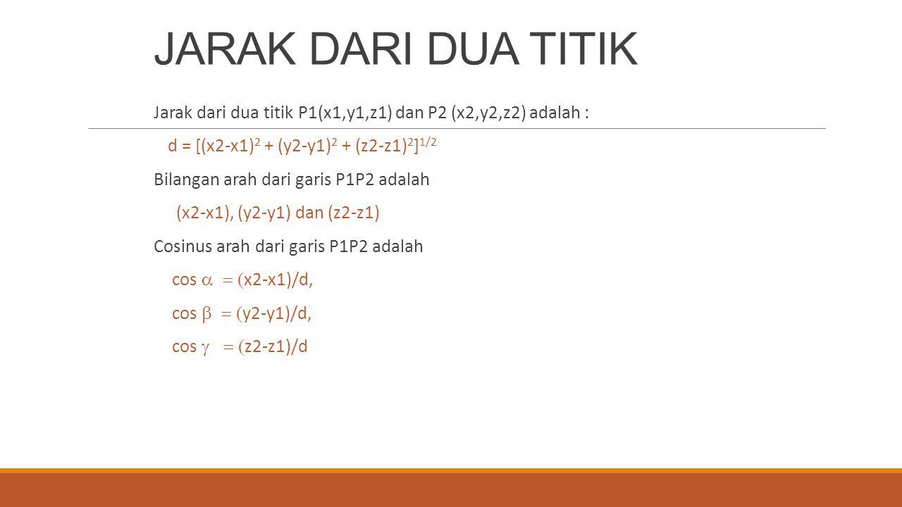 JARAK DARI DUA TITIK Jarak dari dua titik P1(x1,y1,z1) dan P2 (x2,y2,z2) adalah : d = [(x2-x1) 2 + (y2-y1) 2 + (z2-z1) 2 ] 1/2 Bilangan arah dari gari