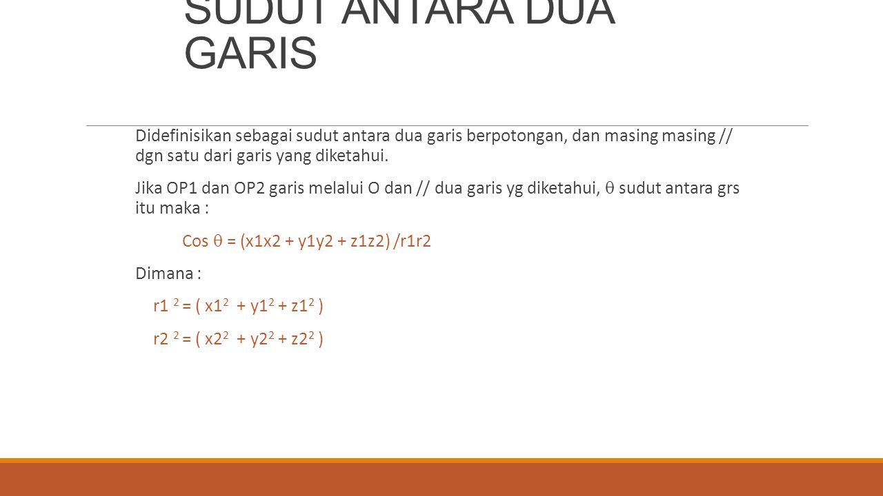 SUDUT ANTARA DUA GARIS Didefinisikan sebagai sudut antara dua garis berpotongan, dan masing masing // dgn satu dari garis yang diketahui. Jika OP1 dan