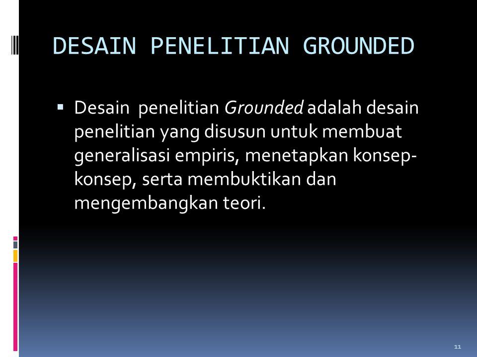 DESAIN PENELITIAN GROUNDED  Desain penelitian Grounded adalah desain penelitian yang disusun untuk membuat generalisasi empiris, menetapkan konsep- k