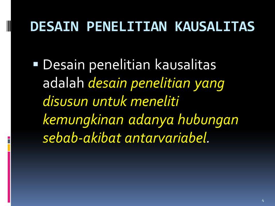 Langkah-langkah Penelitian Kausalitas 1.Menetapkan masalah penelitian.