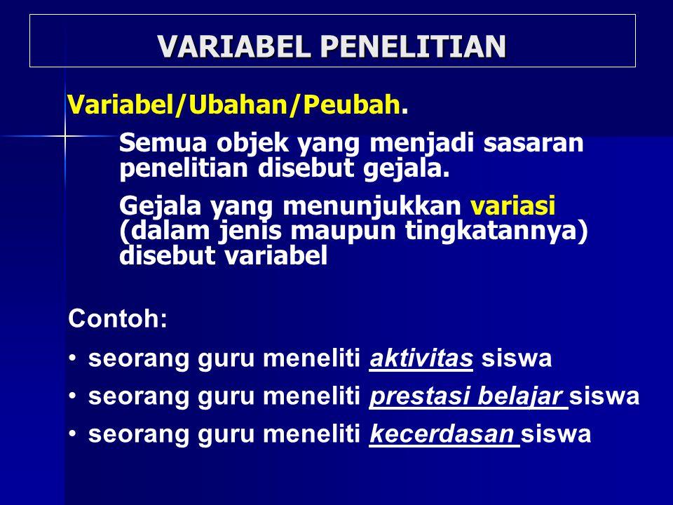 VARIABEL PENELITIAN Variabel/Ubahan/Peubah. Semua objek yang menjadi sasaran penelitian disebut gejala. Gejala yang menunjukkan variasi (dalam jenis m