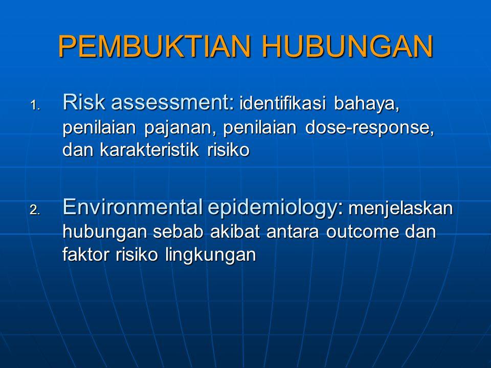 PEMBUKTIAN HUBUNGAN 1. Risk assessment: identifikasi bahaya, penilaian pajanan, penilaian dose-response, dan karakteristik risiko 2. Environmental epi