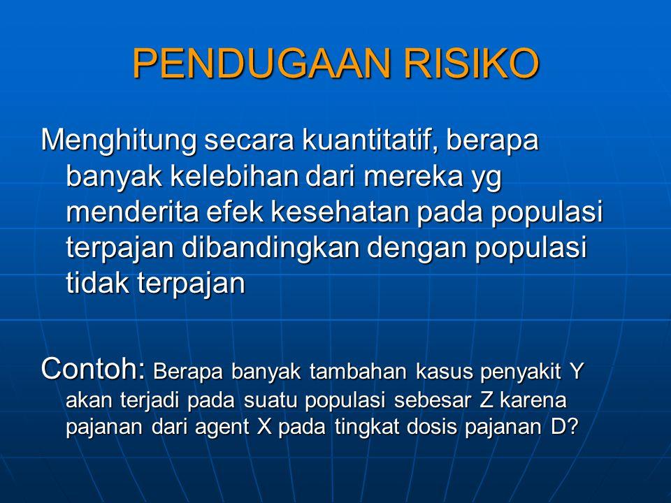 PENDUGAAN RISIKO Menghitung secara kuantitatif, berapa banyak kelebihan dari mereka yg menderita efek kesehatan pada populasi terpajan dibandingkan de