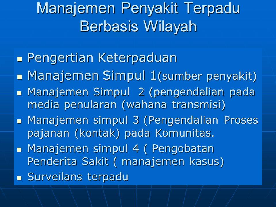 Manajemen Penyakit Terpadu Berbasis Wilayah Pengertian Keterpaduan Pengertian Keterpaduan Manajemen Simpul 1 (sumber penyakit) Manajemen Simpul 1 (sum