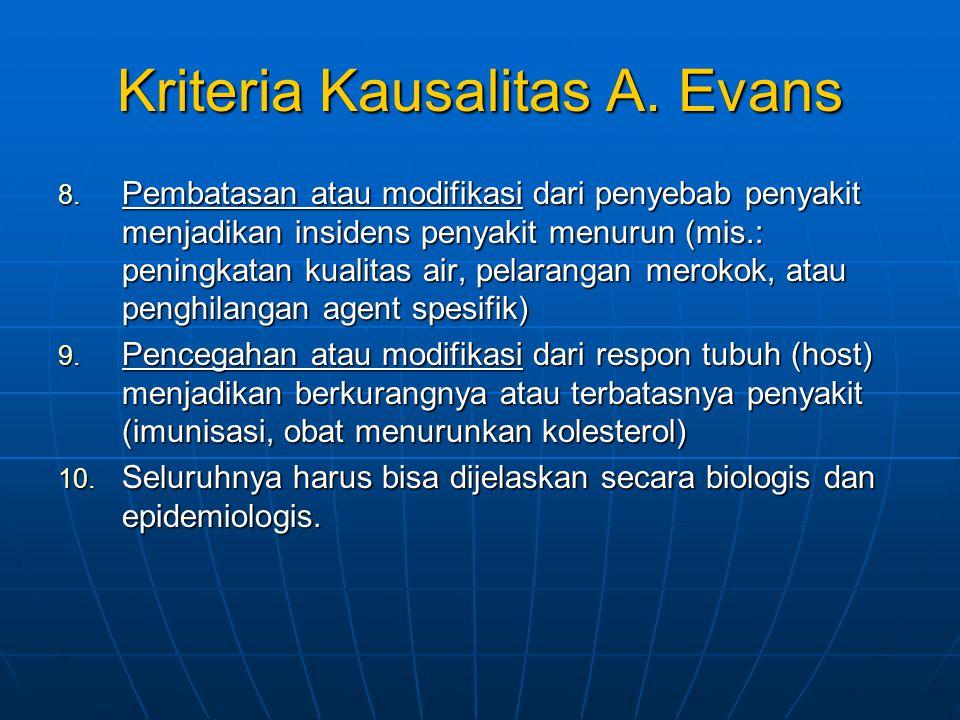Kriteria Kausalitas A. Evans 8. Pembatasan atau modifikasi dari penyebab penyakit menjadikan insidens penyakit menurun (mis.: peningkatan kualitas air