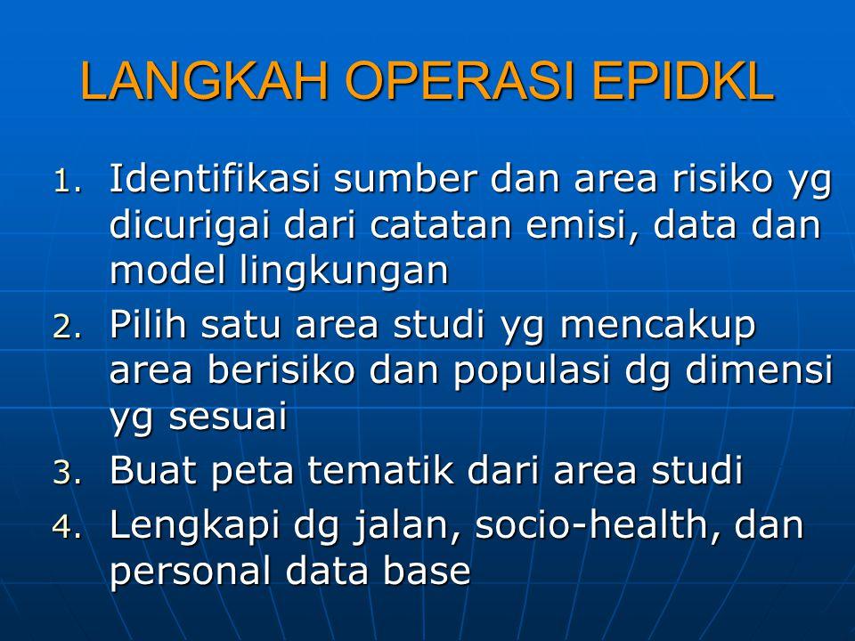 LANGKAH OPERASI EPIDKL 1. Identifikasi sumber dan area risiko yg dicurigai dari catatan emisi, data dan model lingkungan 2. Pilih satu area studi yg m