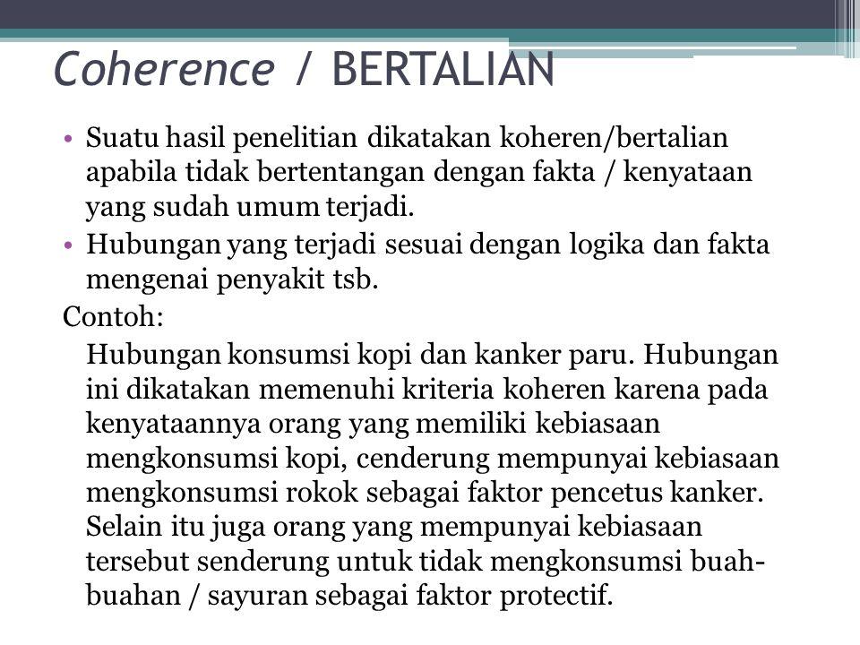 Coherence / BERTALIAN Suatu hasil penelitian dikatakan koheren/bertalian apabila tidak bertentangan dengan fakta / kenyataan yang sudah umum terjadi.