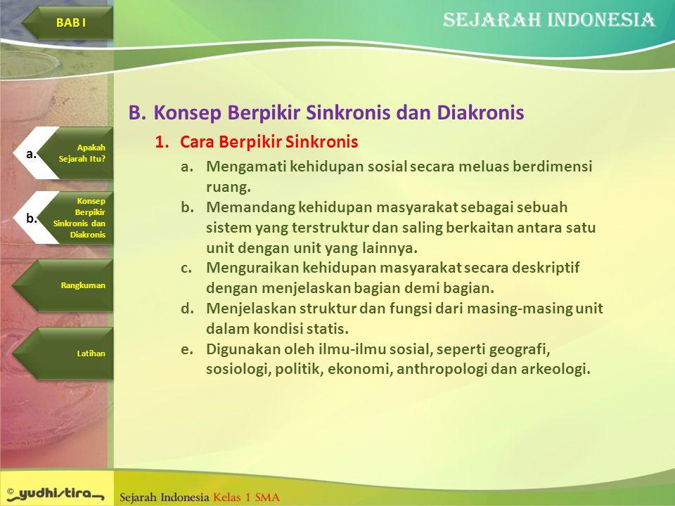 B.Konsep Berpikir Sinkronis dan Diakronis 1.Cara Berpikir Sinkronis a.Mengamati kehidupan sosial secara meluas berdimensi ruang. b.Memandang kehidupan