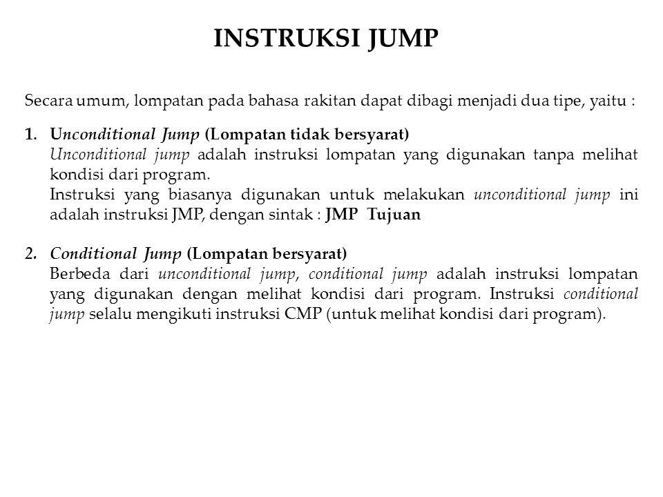 Secara umum, lompatan pada bahasa rakitan dapat dibagi menjadi dua tipe, yaitu : 1.Unconditional Jump (Lompatan tidak bersyarat) Unconditional jump ad
