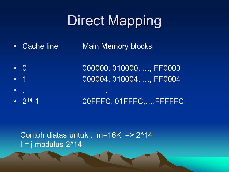 Direct Mapping Cache lineMain Memory blocks 0000000, 010000, …, FF0000 1000004, 010004, …, FF0004.. 2 14 -100FFFC, 01FFFC,…,FFFFFC Contoh diatas untuk