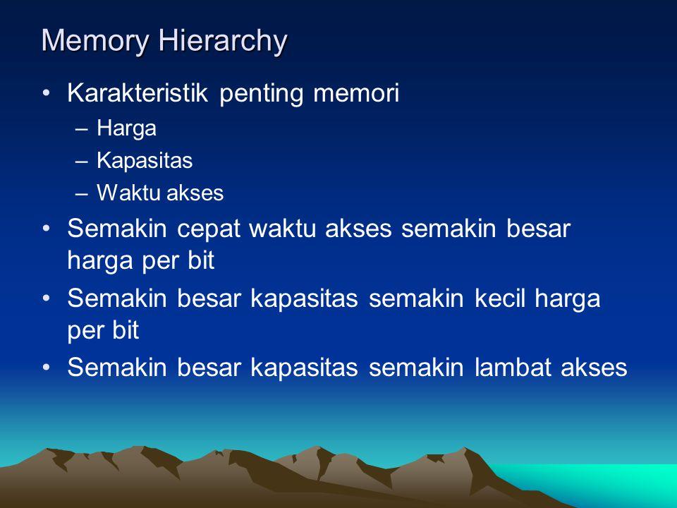 Memory Hierarchy Karakteristik penting memori –Harga –Kapasitas –Waktu akses Semakin cepat waktu akses semakin besar harga per bit Semakin besar kapasitas semakin kecil harga per bit Semakin besar kapasitas semakin lambat akses