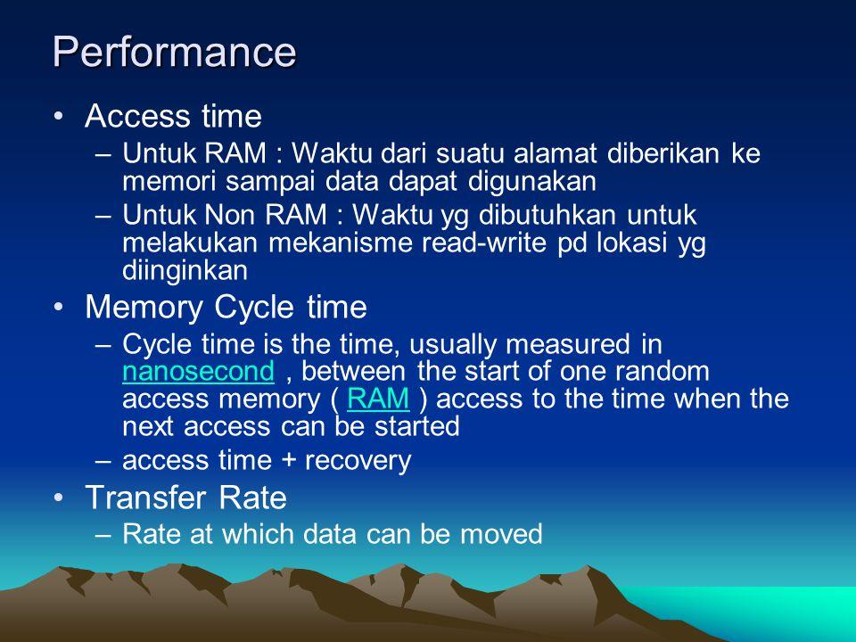 Performance Access time –Untuk RAM : Waktu dari suatu alamat diberikan ke memori sampai data dapat digunakan –Untuk Non RAM : Waktu yg dibutuhkan untuk melakukan mekanisme read-write pd lokasi yg diinginkan Memory Cycle time –Cycle time is the time, usually measured in nanosecond, between the start of one random access memory ( RAM ) access to the time when the next access can be started nanosecondRAM –access time + recovery Transfer Rate –Rate at which data can be moved