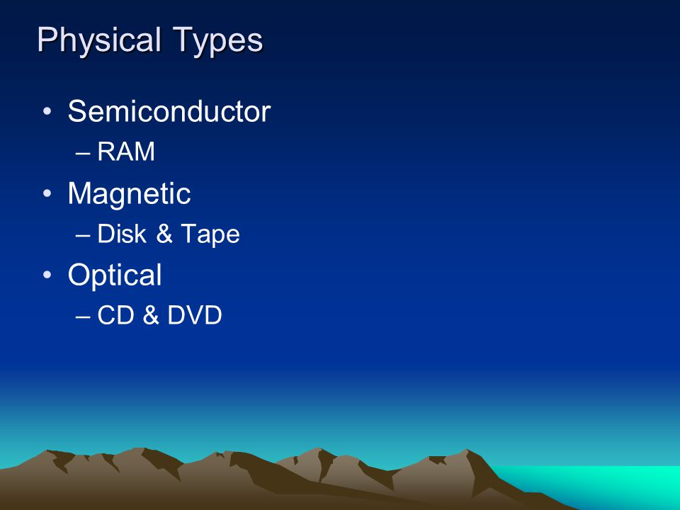 Physical Types Semiconductor –RAM Magnetic –Disk & Tape Optical –CD & DVD
