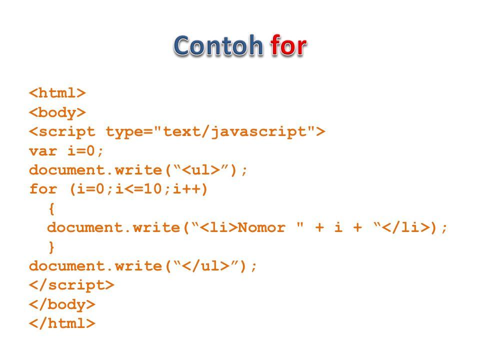 var i=0; document.write( ); for (i=0;i<=10;i++) { document.write( Nomor + i + ); } document.write( );