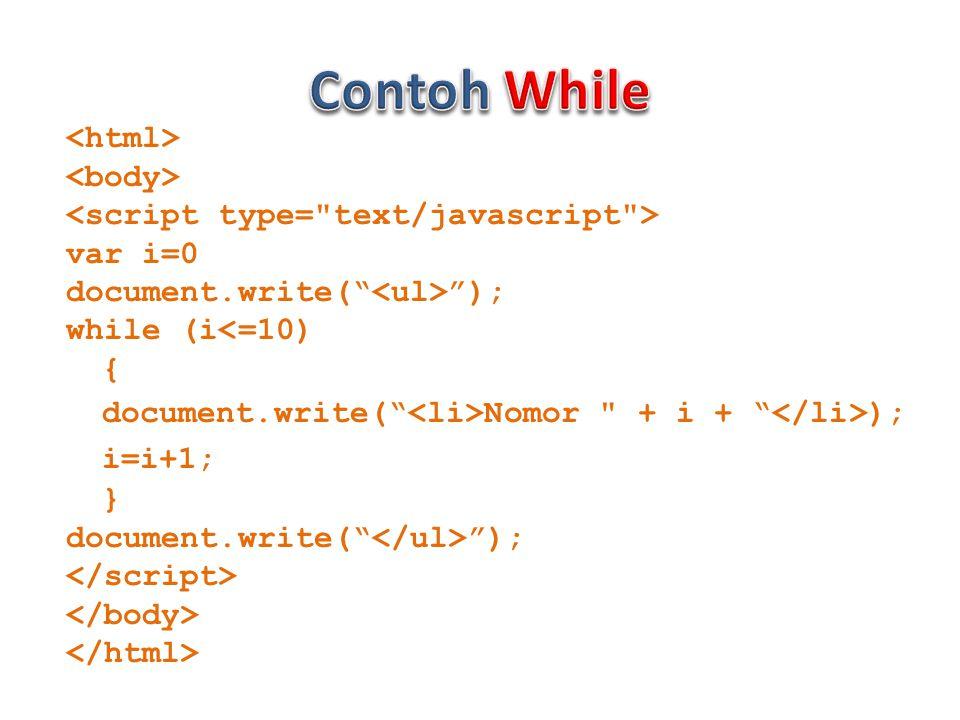 var i=0 document.write( ); while (i<=10) { document.write( Nomor + i + ); i=i+1; } document.write( );