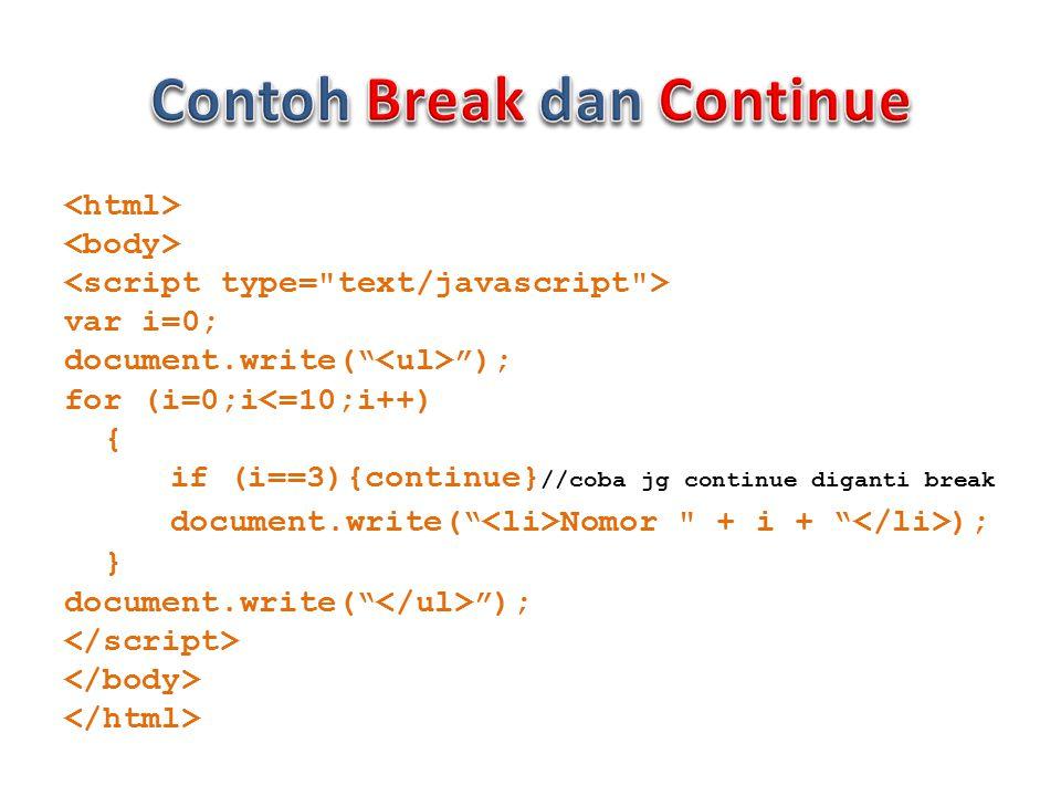 var i=0; document.write( ); for (i=0;i<=10;i++) { if (i==3){continue} //coba jg continue diganti break document.write( Nomor + i + ); } document.write( );
