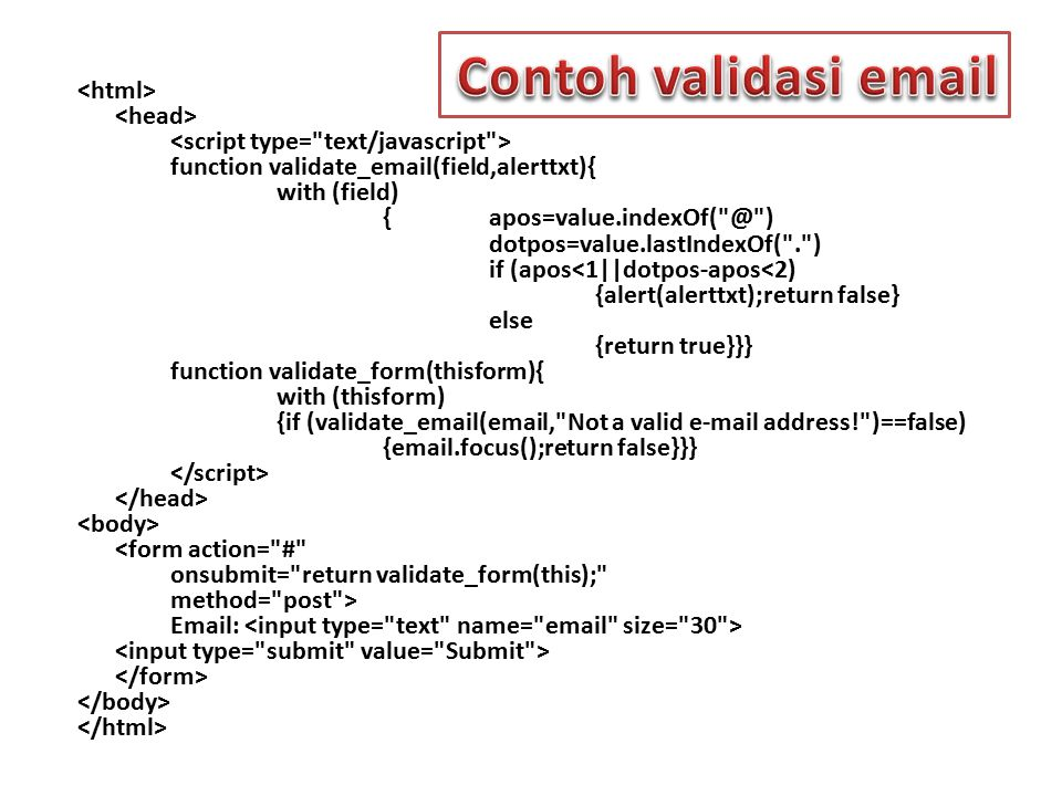 function validate_email(field,alerttxt){ with (field) {apos=value.indexOf(