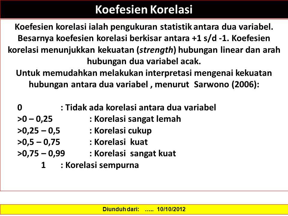 Koefesien Korelasi Koefesien korelasi ialah pengukuran statistik antara dua variabel. Besarnya koefesien korelasi berkisar antara +1 s/d -1. Koefesien