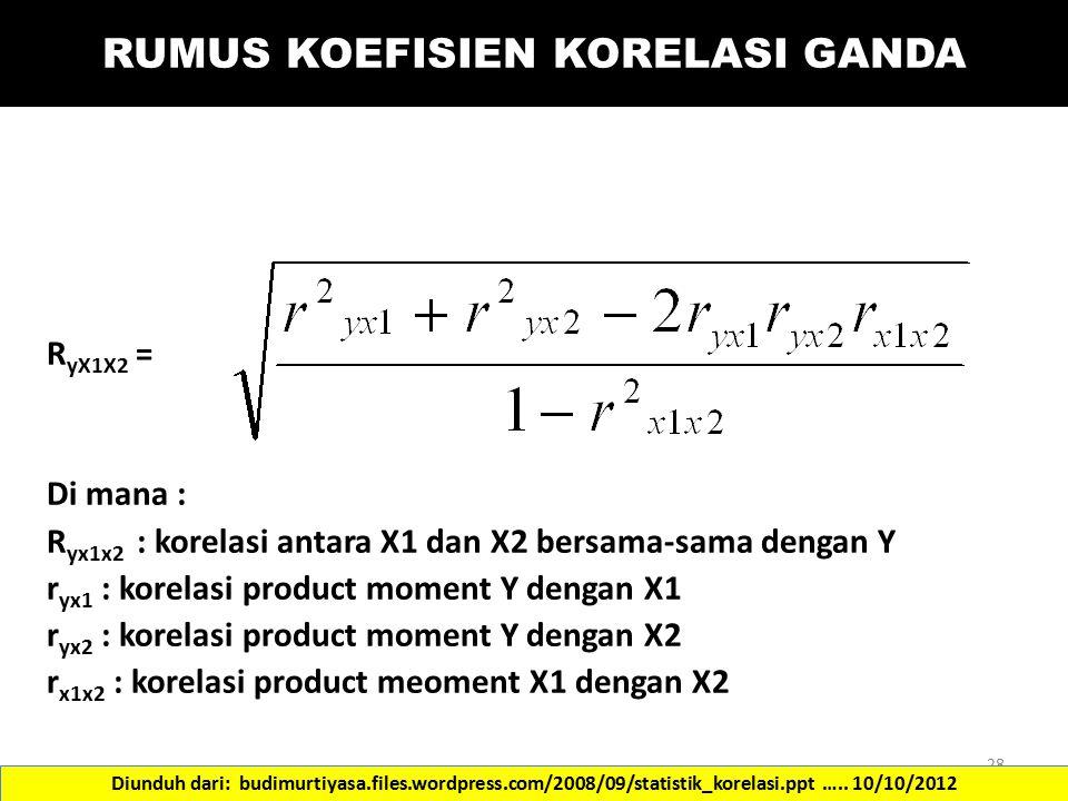 RUMUS KOEFISIEN KORELASI GANDA R yX1X2 = Di mana : R yx1x2 : korelasi antara X1 dan X2 bersama-sama dengan Y r yx1 : korelasi product moment Y dengan