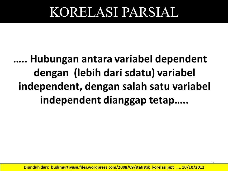 KORELASI PARSIAL ….. Hubungan antara variabel dependent dengan (lebih dari sdatu) variabel independent, dengan salah satu variabel independent diangga