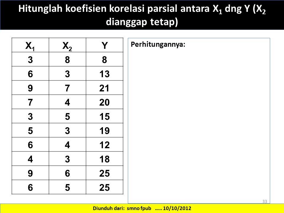 X1X1 X2X2 Y 388 6313 9721 7420 3515 5319 6412 4318 9625 65 33 Hitunglah koefisien korelasi parsial antara X 1 dng Y (X 2 dianggap tetap) Diunduh dari: