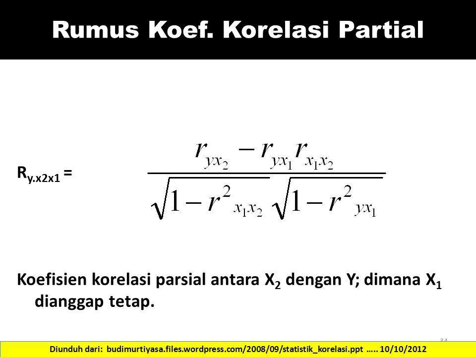 Rumus Koef. Korelasi Partial R y.x2x1 = Koefisien korelasi parsial antara X 2 dengan Y; dimana X 1 dianggap tetap. 34 Diunduh dari: budimurtiyasa.file
