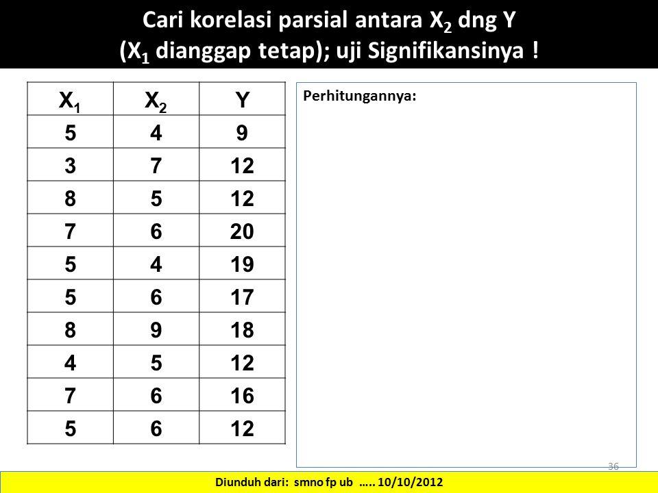 X1X1 X2X2 Y 549 3712 85 7620 5419 5617 8918 4512 7616 5612 36 Cari korelasi parsial antara X 2 dng Y (X 1 dianggap tetap); uji Signifikansinya ! Diund