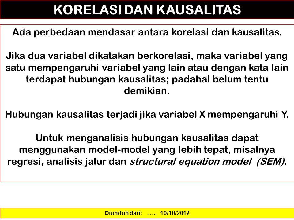 KORELASI DAN KAUSALITAS Ada perbedaan mendasar antara korelasi dan kausalitas. Jika dua variabel dikatakan berkorelasi, maka variabel yang satu mempen