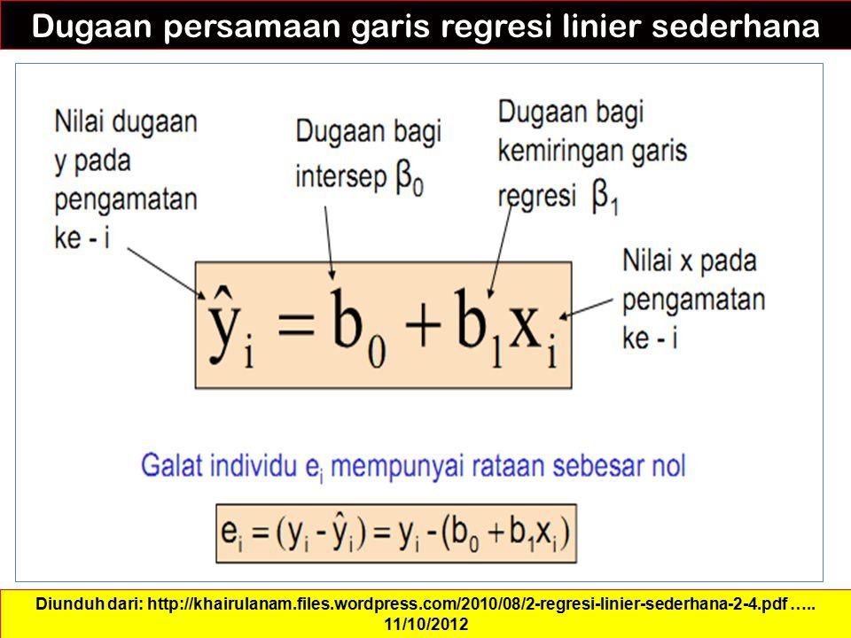 Dugaan persamaan garis regresi linier sederhana Diunduh dari: http://khairulanam.files.wordpress.com/2010/08/2-regresi-linier-sederhana-2-4.pdf ….. 11