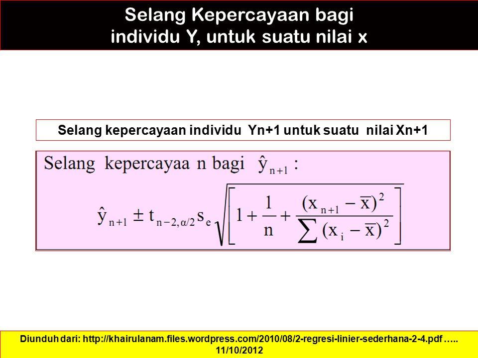 Selang Kepercayaan bagi individu Y, untuk suatu nilai x Selang kepercayaan individu Yn+1 untuk suatu nilai Xn+1 Diunduh dari: http://khairulanam.files
