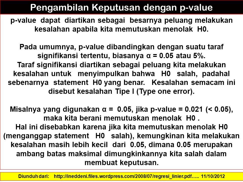 p-value dapat diartikan sebagai besarnya peluang melakukan kesalahan apabila kita memutuskan menolak H0. Pada umumnya, p-value dibandingkan dengan sua