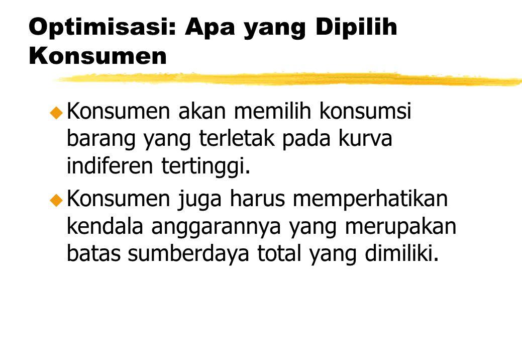 Optimisasi: Apa yang Dipilih Konsumen u Konsumen akan memilih konsumsi barang yang terletak pada kurva indiferen tertinggi. u Konsumen juga harus memp