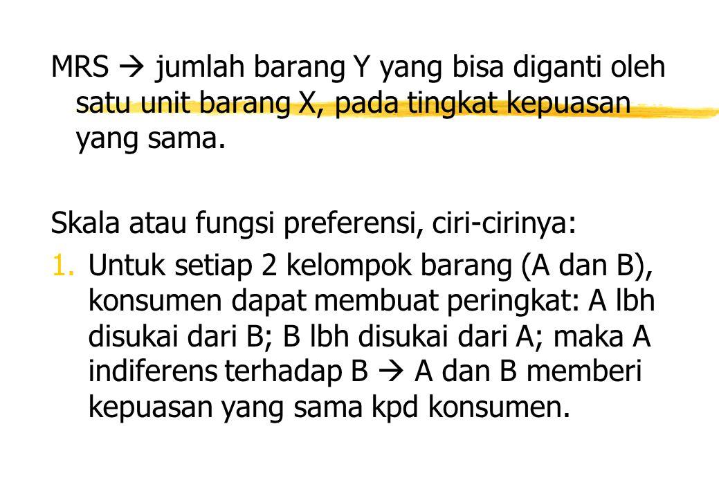 MRS  jumlah barang Y yang bisa diganti oleh satu unit barang X, pada tingkat kepuasan yang sama. Skala atau fungsi preferensi, ciri-cirinya: 1. Untuk