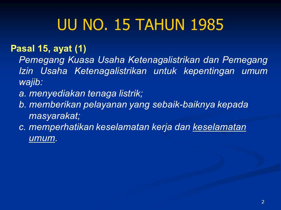 2 UU NO. 15 TAHUN 1985 Pasal 15, ayat (1) Pemegang Kuasa Usaha Ketenagalistrikan dan Pemegang Izin Usaha Ketenagalistrikan untuk kepentingan umum waji
