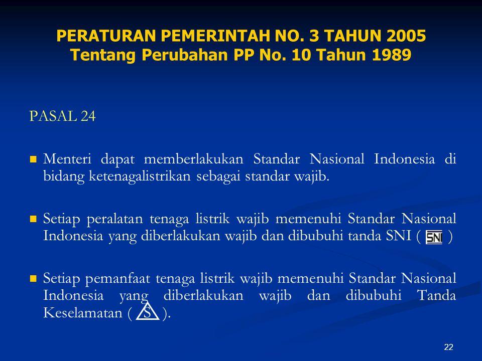 22 PERATURAN PEMERINTAH NO. 3 TAHUN 2005 Tentang Perubahan PP No. 10 Tahun 1989 PASAL 24 Menteri dapat memberlakukan Standar Nasional Indonesia di bid