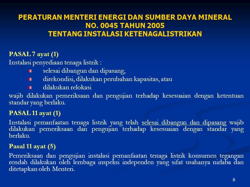 8 PERATURAN MENTERI ENERGI DAN SUMBER DAYA MINERAL NO. 0045 TAHUN 2005 TENTANG INSTALASI KETENAGALISTRIKAN PASAL 7 ayat (1) Instalasi penyediaan tenag