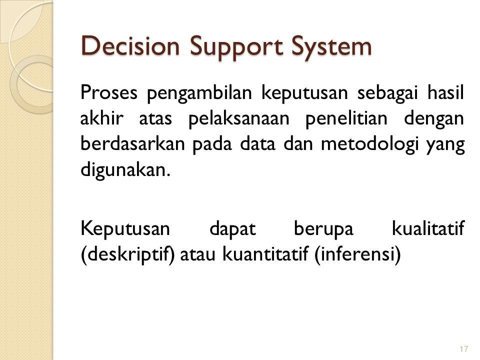 Decision Support System 17 Proses pengambilan keputusan sebagai hasil akhir atas pelaksanaan penelitian dengan berdasarkan pada data dan metodologi ya