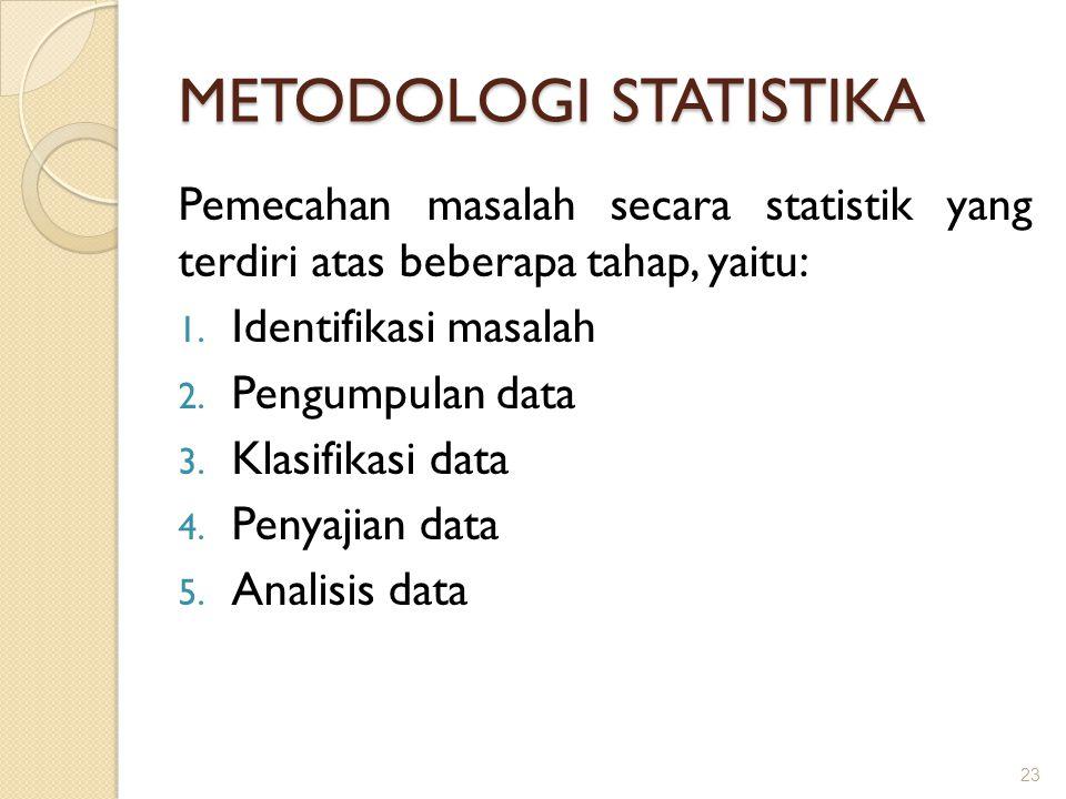 METODOLOGI STATISTIKA Pemecahan masalah secara statistik yang terdiri atas beberapa tahap, yaitu: 1. Identifikasi masalah 2. Pengumpulan data 3. Klasi