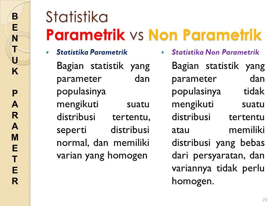 Statistika Parametrik vs Non Parametrik Statistika Parametrik Bagian statistik yang parameter dan populasinya mengikuti suatu distribusi tertentu, sep