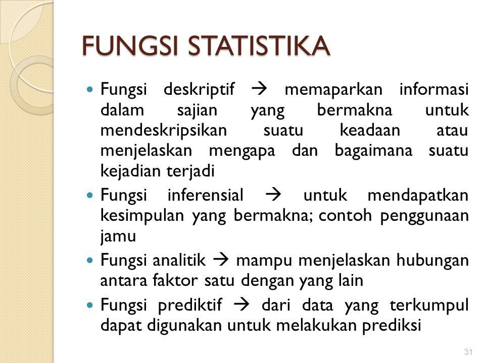 FUNGSI STATISTIKA Fungsi deskriptif  memaparkan informasi dalam sajian yang bermakna untuk mendeskripsikan suatu keadaan atau menjelaskan mengapa dan